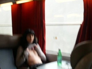 Beautiful French girl suck a cock in a train and swallow