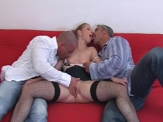 Blonde does a scene with 2 guys 1/4