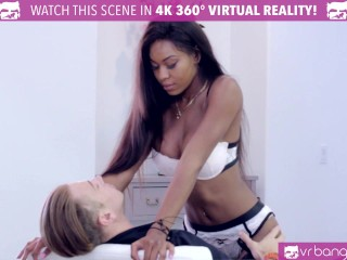 VR Bangers – Hot Ebony Pole Dancer Nadia Jay fingered by 2 buddies