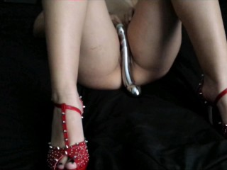 Solo Orgasm in Red Heels