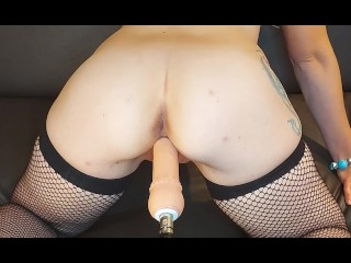 fucked by sex machine, instant cum and squirt