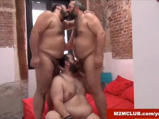 Chubby Spaniard Gang-banged