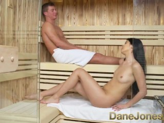 Dane Jones Petite little girl gets facial after sweaty sauna and wet shower