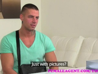 FemaleAgent Horny studs cock causes him problems during sexy casting