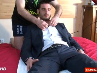 A nice innocent str8 banker serviced his big cock by a guy!