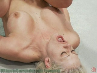 Two hot blonds with big tits wrestling