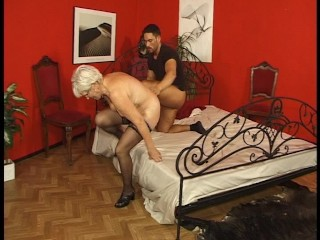 Older woman keeps up with the younger man