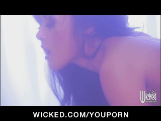 Sexy young Asian babe Kaylani-Lei is fucked to a huge orgasm