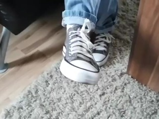 Hot blonde teen goddess converse and white ankle socks POV