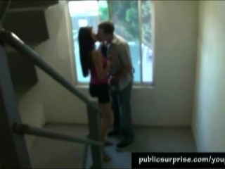 Naughty Blowjob In Public Staircase