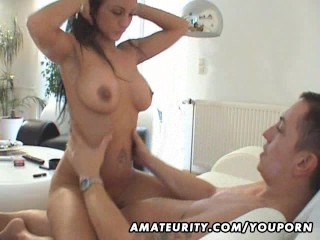 Busty amateur Milf sucks and fucks with cum on her hot body
