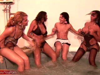Four shemales get playful in jacuzzi banging their assholes