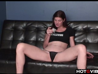 Pale Brunette gets her pussy off