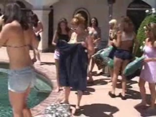 HOt lesbian orgy by the pool