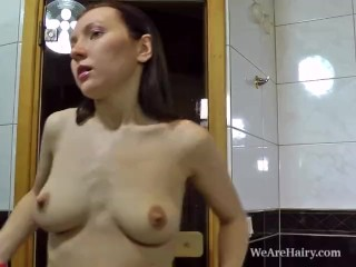 Hairy Stella lets her fingers wander through her jungle