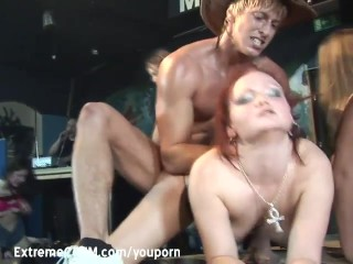 Red Head fucked orgy party