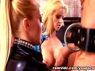 Two Cock Craving Blondes In Latex Unlocked Their Prize