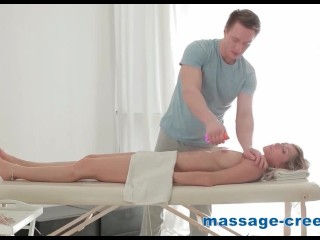 Excited blonde is exhausted after massage