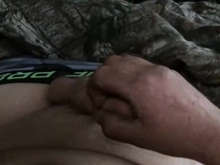 Slow motion tug and cum in bed