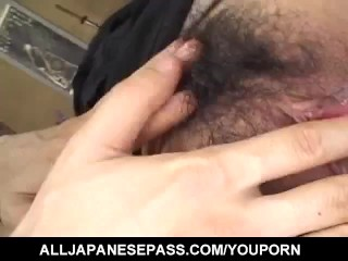 Nana Nanami gets cum on ass cheeks from sucked dicks after fuck