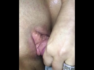 Viv fucking her clit & pussy with my cock