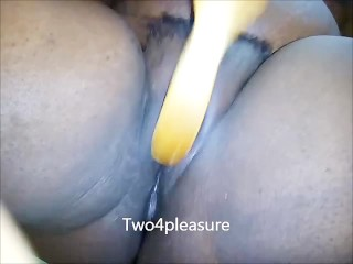 Rubbing my pussy with my sons brush
