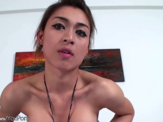 Thai t-girl shows off bigtits and finger fucks tight asshole