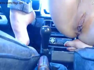 TEEN TEASE FUCKING, WITH HER PUSSY LIPS, A CARS GEAR STICK