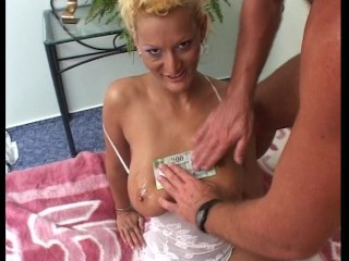 Hot blonde with big tits gets paid after she gets laid (clip)