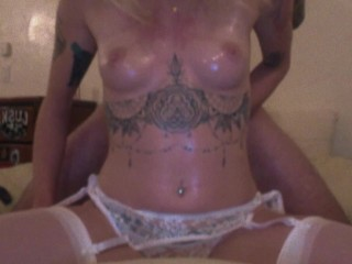 Fingering and Doggy Style in White Lingerie