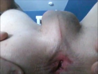 Stroking my cock and spreading my asshole