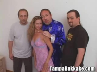 Sexy hot wife on slumber party with bukkake crew