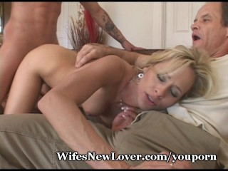 Older Lady Milks Young Cock