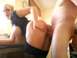 Fucked over the desk doggy style at the window