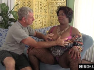 Black horny BBW Marlise Morgan enjoying a fat cock