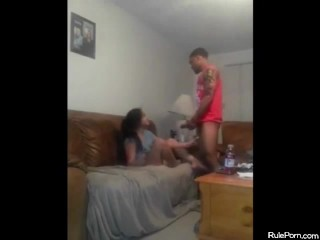 Dude with huge dick fucks her face