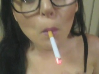 young smoking slut face fucked with facial and orgasm