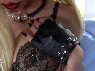 TS Barbie doll strokes her erect cock