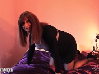 Horny redhead crossdresser Luci May wanks and spunks after fucking ass with big butt plug toy