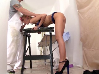 Hot Slutty Blonde Nurse Jessy Brown Kneels for the Gloryhole