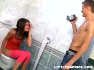 Sexy little fighter in the bathroom with her opponent