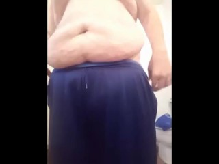Chub slapping his ass and jerking off with lots of cum