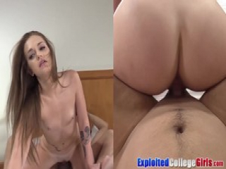 Joey and Sami leave college for big cock casting 4way