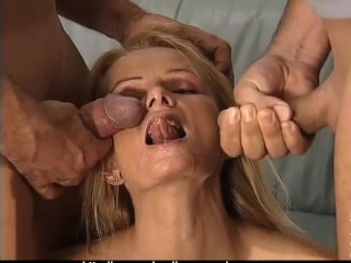 Hot Babe hammered by 2 guys in every Hole!