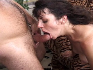 Hairy horny girl gets lots of cock