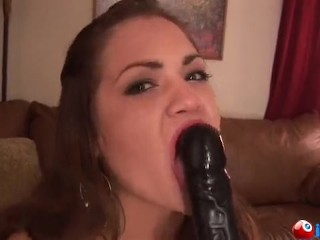 pretty latina sucks a dildo