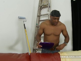 Young whore Giselle Leon is craving some BBC fucks her painter to satisfy