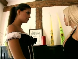 Sexy Defrancesca licking and fingering in stockings and a maids uniform