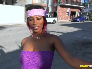 Ebony Envy Star gets her pussy wet while she gets fucked outdoor