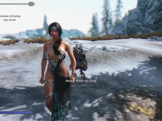 Sexy Skyrim- Taught by a riekling how to survive in a cold climate .
